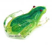 Large Green Art Glass Frog