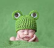 Handmade Crocheted Frog Baby Hat