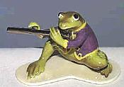 Porcelain Miniature: Flute Player Frog