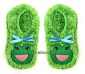 Fuzzy Green Frog Footies Slippers