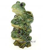 Stacked Frogs Porcelain Vase