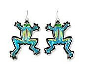 Calypso Frog Silverplate Enamel Earrings