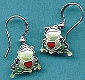 Love Frogs Sterling Enamel Earrings