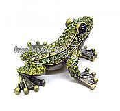 Peridot Jeweled Frog Trinket Box