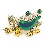 Crystal and Enamel Fashion Frog Pin