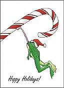 Candycane Frog Holiday Cards, box of 10