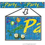 Frog Swamp Party Fringed Banner