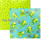 Frogs & Polka Dot Two-Sided Gift Wrap