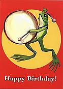 Happy Birthday Frog w/Drum Card