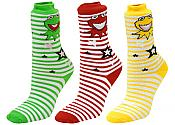 Colorful Stripe Frog Socks (3 Pair)