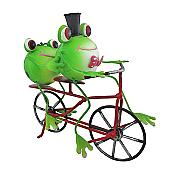 Frogs on Tandem Bicycle Metal Sculpture