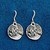 Sterling Frog on Lilypad Earrings