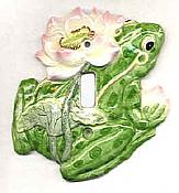Waterlily Frog Ceramic Switchplate
