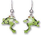 Little Frog Sterling Enamel Earrings
