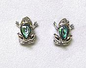 Abalone Frog Earrings