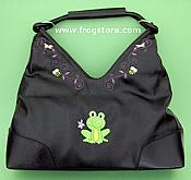 Frog with Flower Leather Look Purse