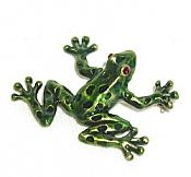 Enameled Brass Green Frog Pin
