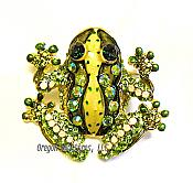 Crystal Speckled Frog Pin