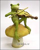 Frog Playing Fiddle on Mushroom