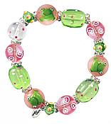 Glass Frog Bead Bracelet