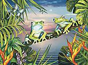 Blue Frogs at Sunset Puzzle (100 piece)