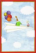 Frog on Paper Airplane Birthday Card