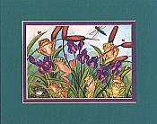 Frogs & Irises Matted Print