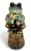 """My Garden"" Sax Frog on Pot"