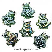 Festive Glass Frog Accents, Set/6