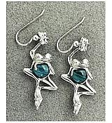 Hanging Frog Sterling Silver and Malachite Earrings