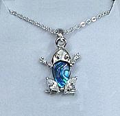 Abalone & Crystal Frog Necklace