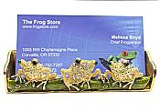 Three Frogs Business Card Holder