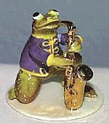 Porcelain Miniature: Sax Player Frog
