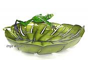 Metalwork Frog on Leaf Bowl