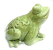 Crackled Glaze Crouching Frog Ceramic Figurine