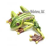 Tree Frog & Baby Enameled Jewel Trinket Box