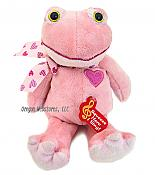 Pink Ribbiting Plush Heart Frog