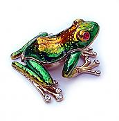 Enameled Green Treefrog Jewel Box