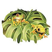 Jungle Frogs Peering Through T-Shirt