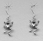 Sterling Leaping Frog Earrings