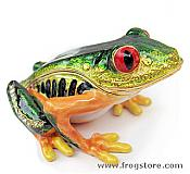 Tree Frog Enamel & Crystal Mini Trinket Box