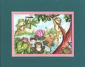 Pond Frogs Matted Print