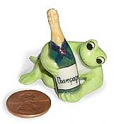 Miniature Porcelain Champagne Frog