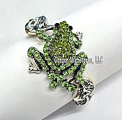 Green Crystal Hinged-Bangle Frog Bracelet
