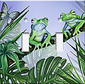 Green Jungle Frogs Double Switchplate