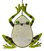 Metal Frog Screened Hanging Birdfeeder