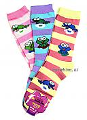 Three Pairs Stripey Frog Socks: Pinks & Purple