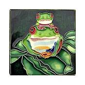 Two Red-Eyed Tree Frogs Small Art Tile