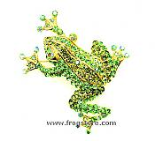 Large Green Crystal Frog Pin