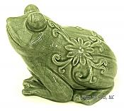 Large Crackled Glaze Crouching Frog Figurine